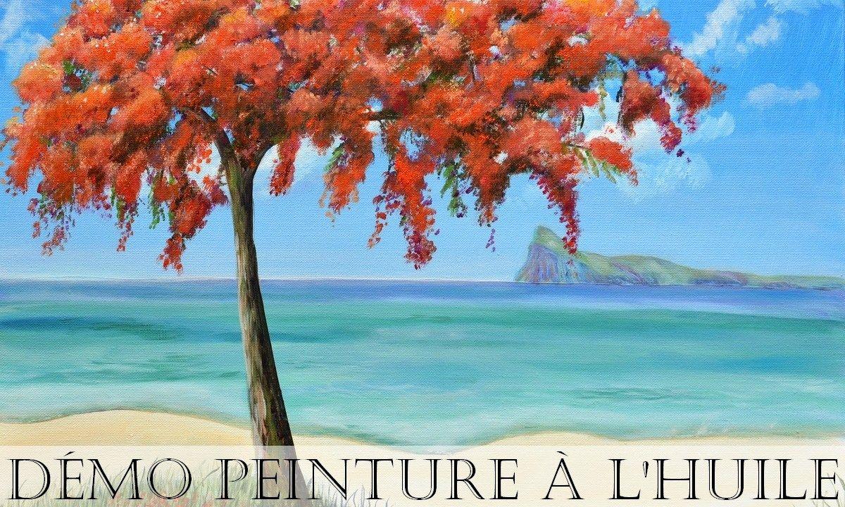 Peindre un arbre et paysage marin (huile