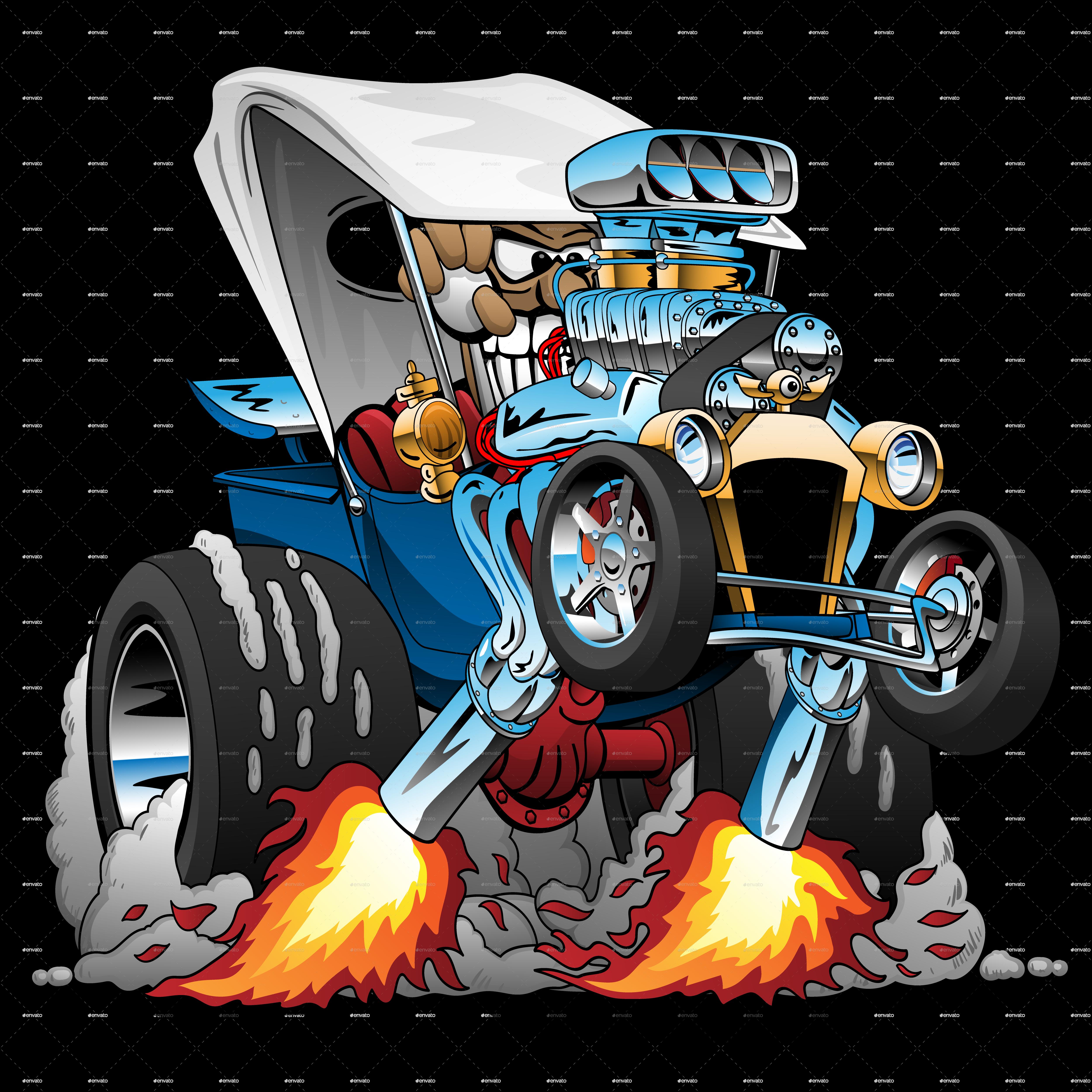 Custom TBucket Roadster Hotrod Cartoon (With images