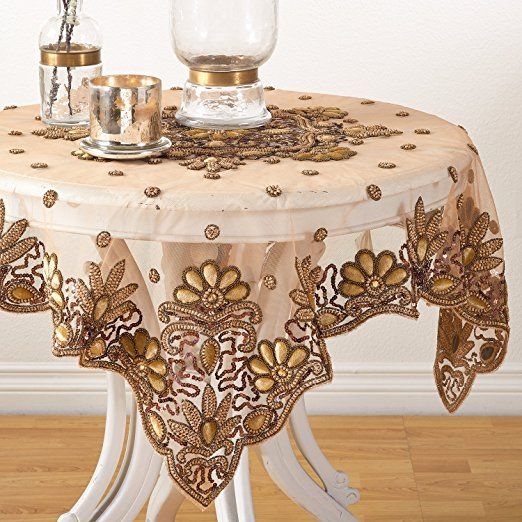 Amazon.com: Gold Hand Beaded Design Speical Occasion Holiday Sheer Table  Topper, 40