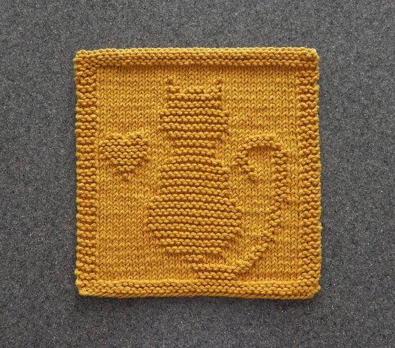 Owl Dishcloth Knitting Patterns Free : Cat kitten heart knit dishcloth hand by