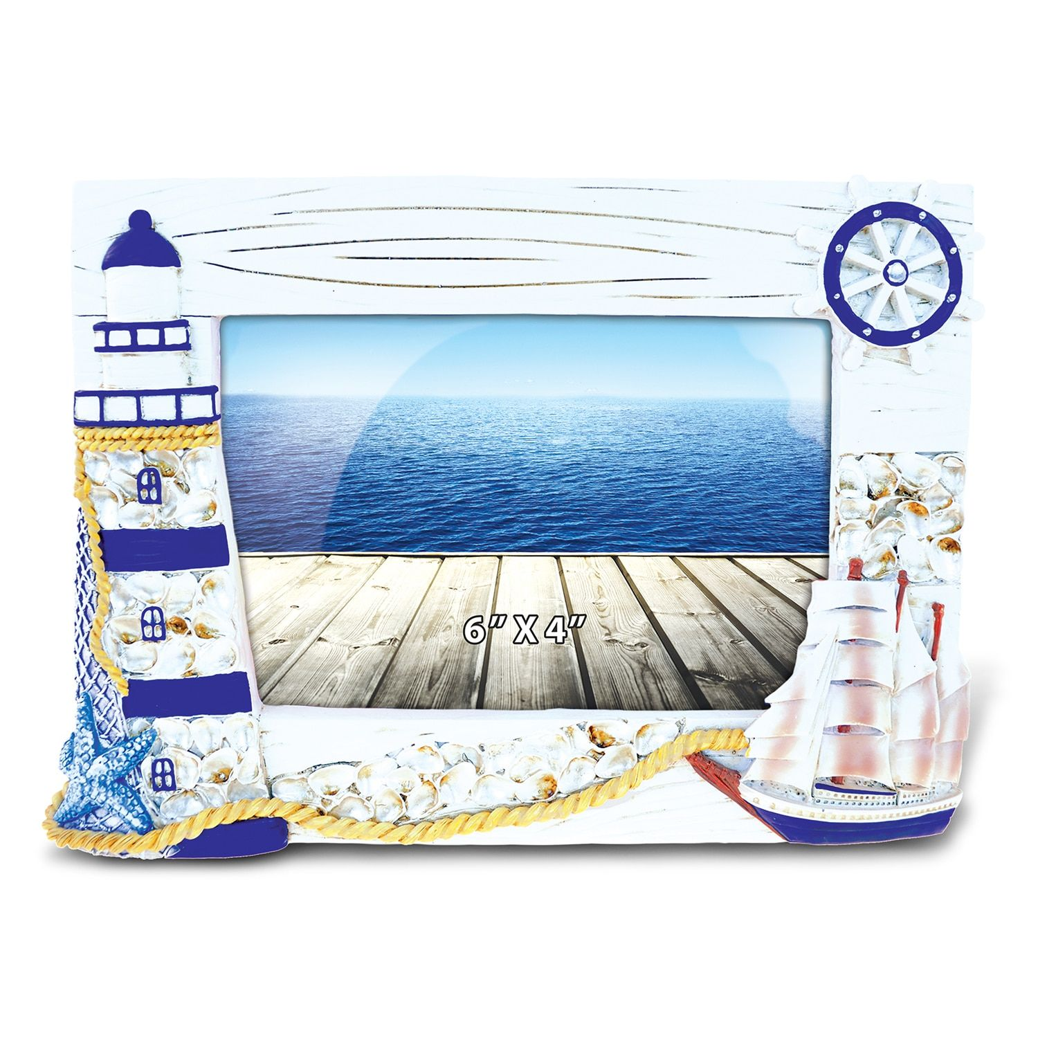 Puzzled inc blue ship and lighthouse nautical multicolor wood 4 puzzled blue ship and lighthouse photo frame nautical picture frame boats lighthouse theme unique elegant gift and souvenir item jeuxipadfo Image collections