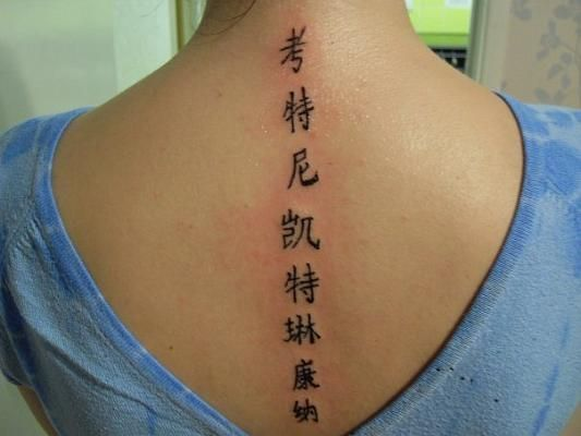Chinese Symbols Tattoo On The Spine Chinese Symbol Tattoos Spine Tattoos For Women Symbolic Tattoos