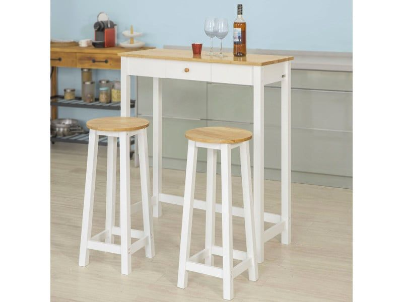 Set De 1 Table 2 Tabourets Table Mange Debout Table Haute Cuisine Ensemble Table De Bar Bistrot Blanc Naturel Fwt50 Wn Sobuy I11136290 Table Haute Cuisine Table Haute Table Bar Cuisine