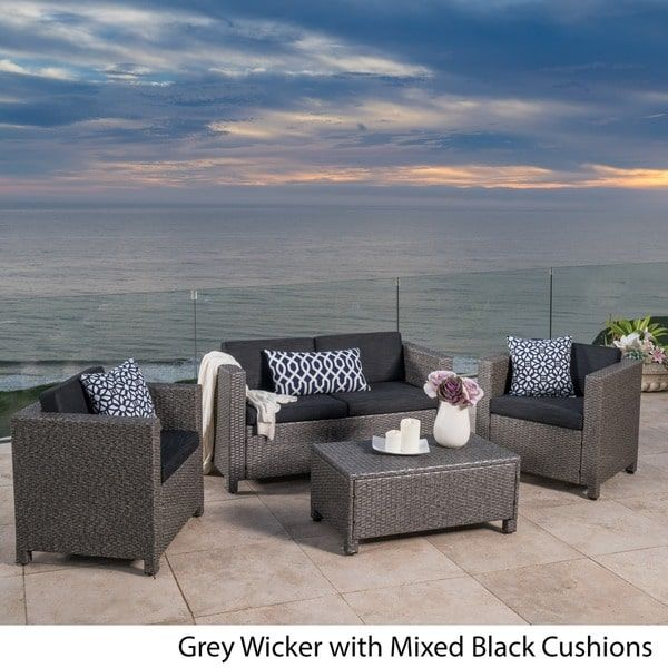 Puerta Outdoor Wicker Sofa Set by Christopher Knight Home (Light