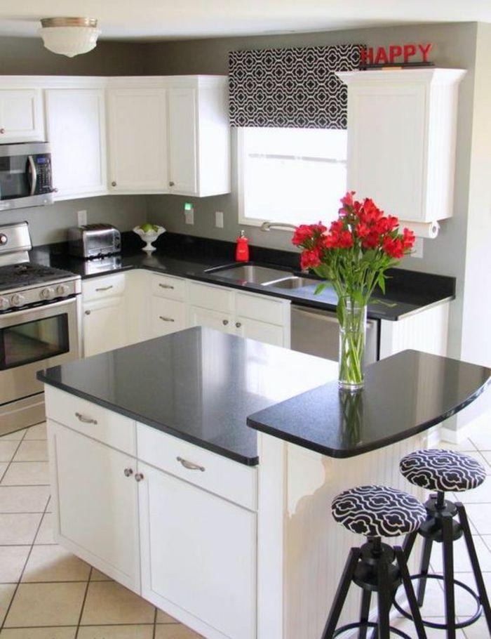 ▷ 1001+ Idées pour cuisine noire + des conseils comment l\u0027aménager - Plan De Travail Cuisine Rouge