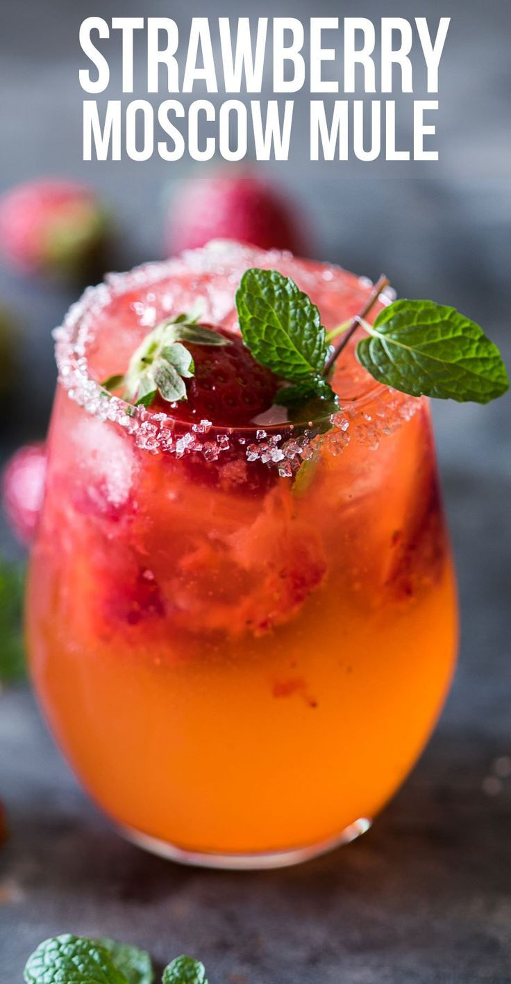 Mint Strawberry Moscow Mule Cocktail