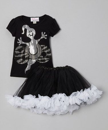 Take a look at this Black & Silver 'Boo' Tee & Tutu - Infant, Toddler & Girls by The Princess and the Prince on #zulily today!