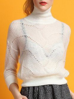 Turtleneck Knitted Casual Long Sleeve Sweater  de0c0bc55