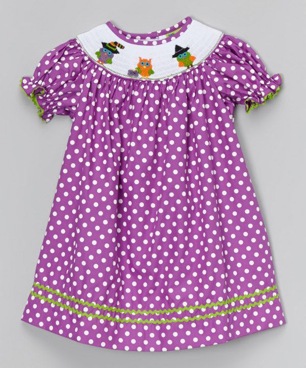 Look at this Purple Dot Halloween Owl Bishop Dress - Infant, Toddler