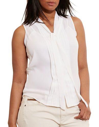 83820a3bde Lauren Ralph Lauren Plus Pleated-Front Georgette Top Women's Pearl ...