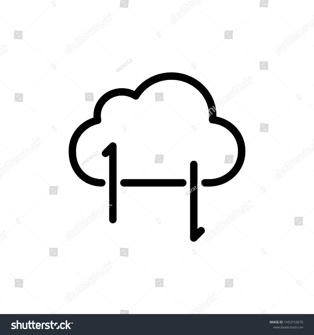 Cloud With Arrow Isolated On White Background Thin Line Icon Vector Illustration For Symbol Web Or App Stock White Background Vector Clouds