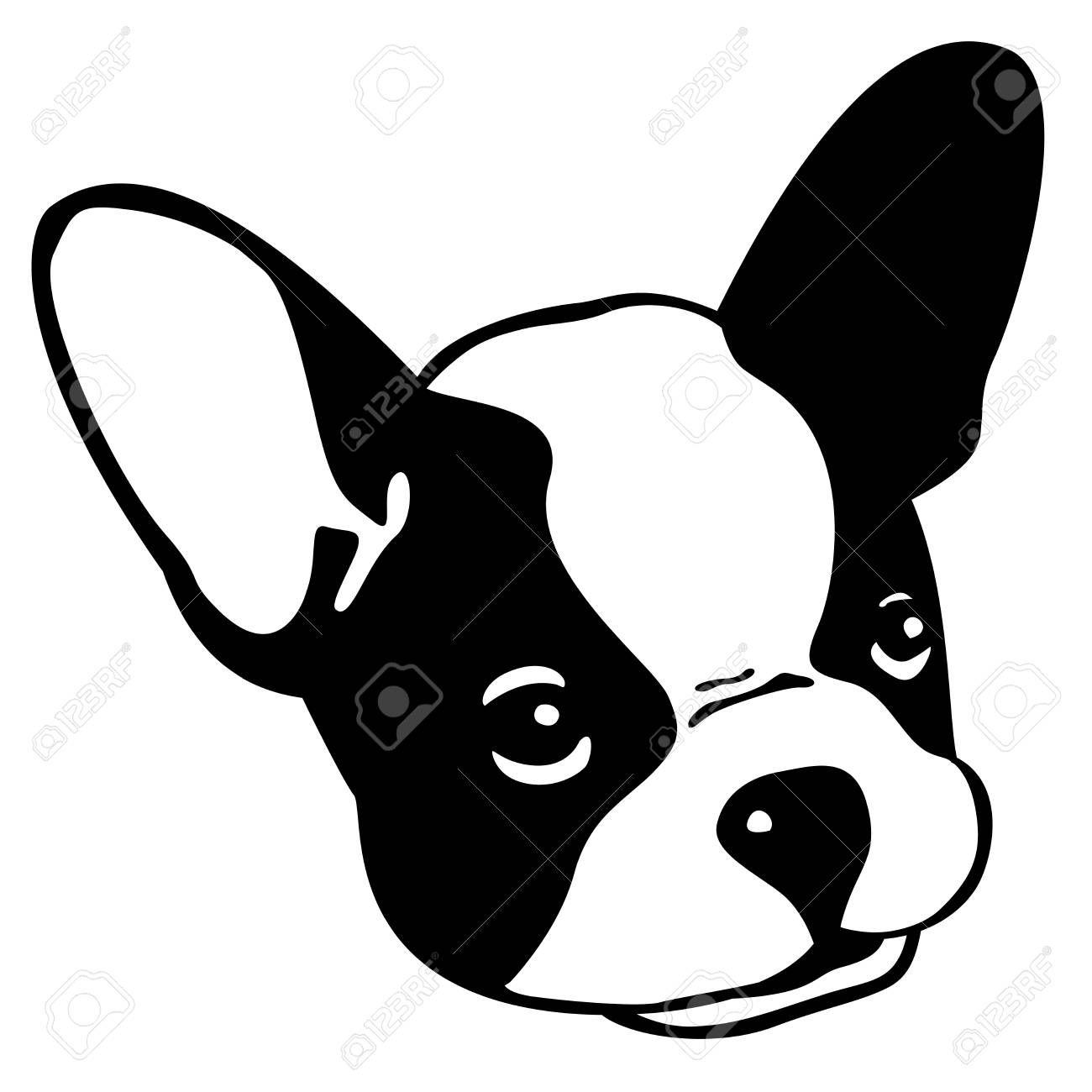 Dog French Bulldog Vector Icon Head Face Illustration Face Illustration Illustration Bulldog