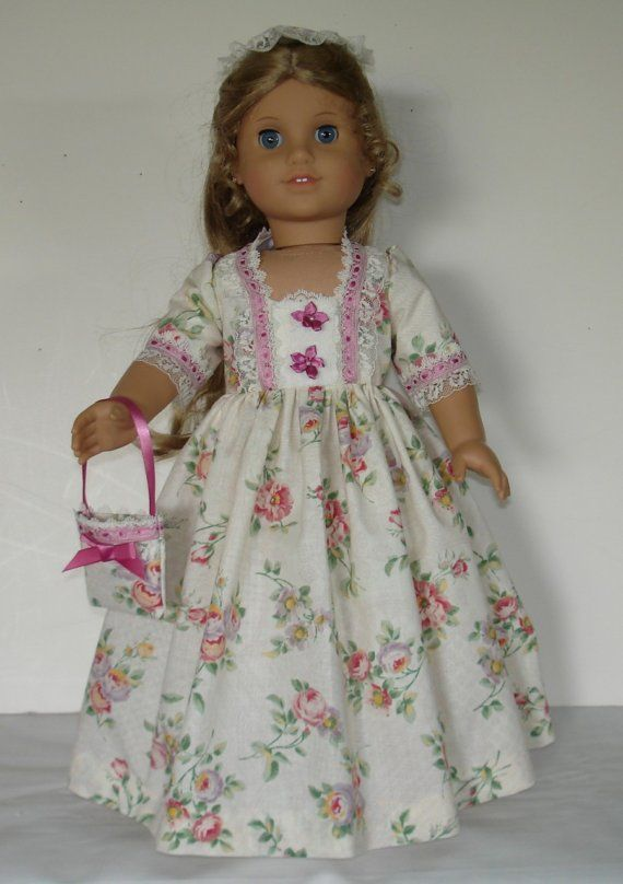 PINK ROSE COLONIAL DRESS CAPE HAT AND by MargaretteDesigns4AG ...