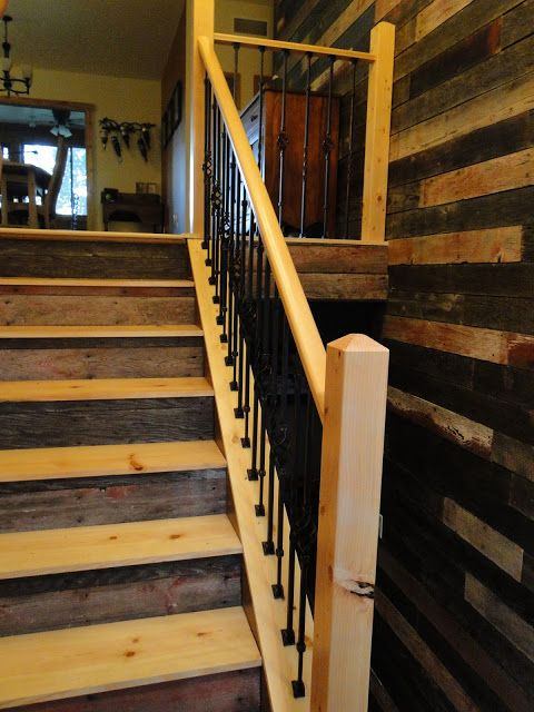 Best Reclaimed Barnwood Staircase And Wall Love Wood 400 x 300