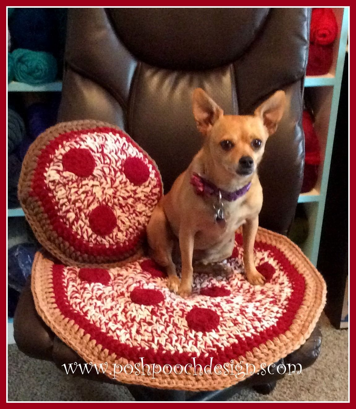 Posh Pooch Designs Dog Clothes: Pizza Pillow Crochet Pattern | Posh Pooch Designs