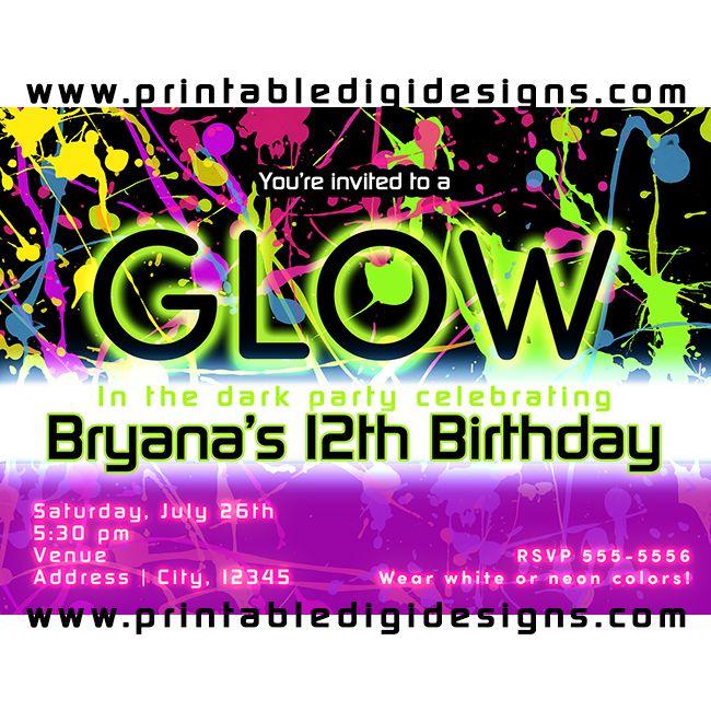 Glow In The Dark Neon Paint Splatter Party Invitation