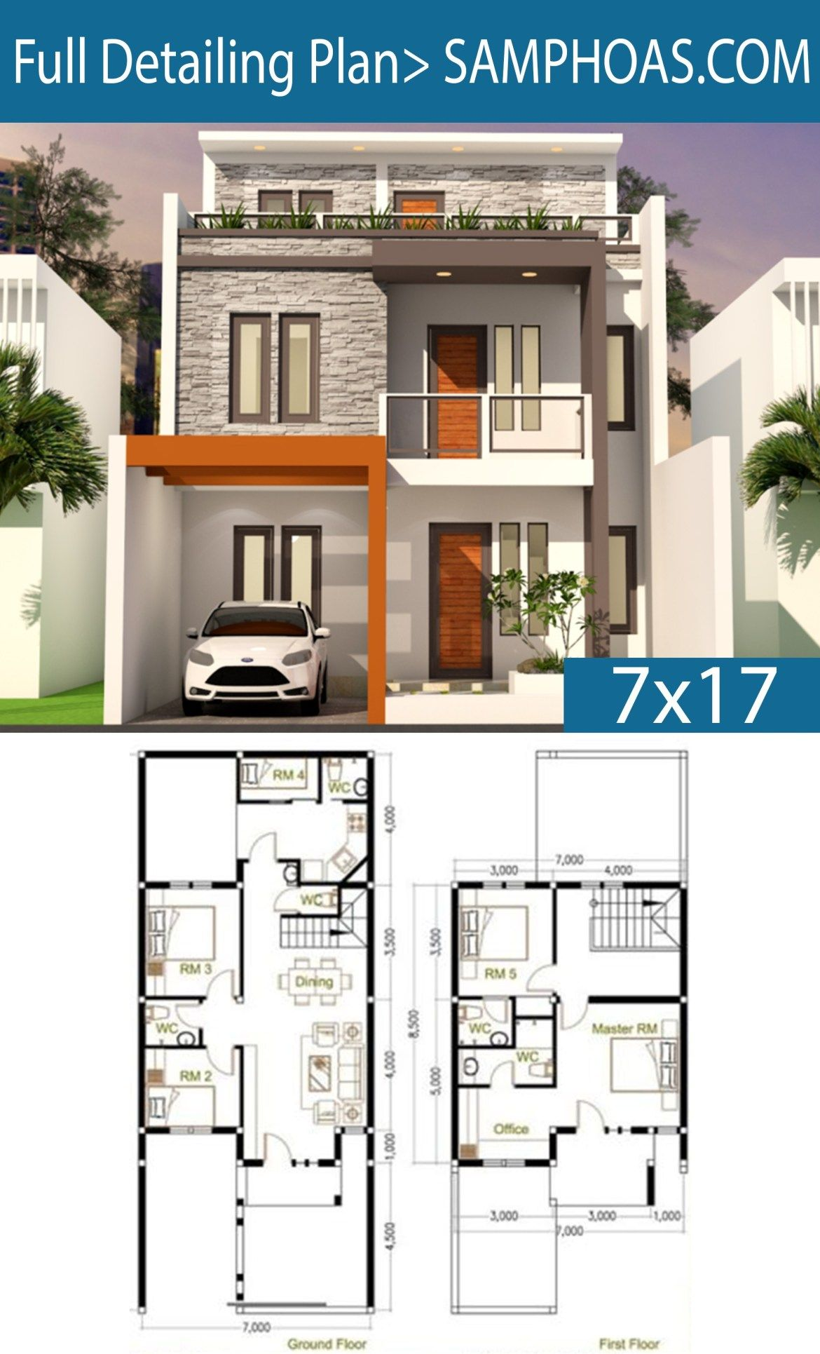 5 Bedrooms Home Design Plan 7x17 Samphoas Plansearch Duplex House Design Model House Plan House Construction Plan