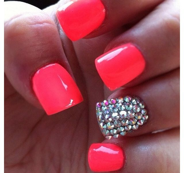 Hot Pink Nail With Diamond Studs With Images Pink Nails Cute