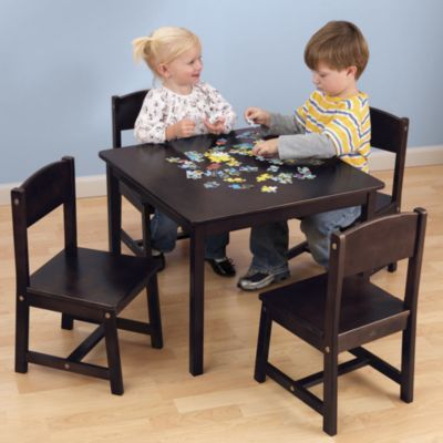 Solid wood child table and chairs. Brown. One step ahead