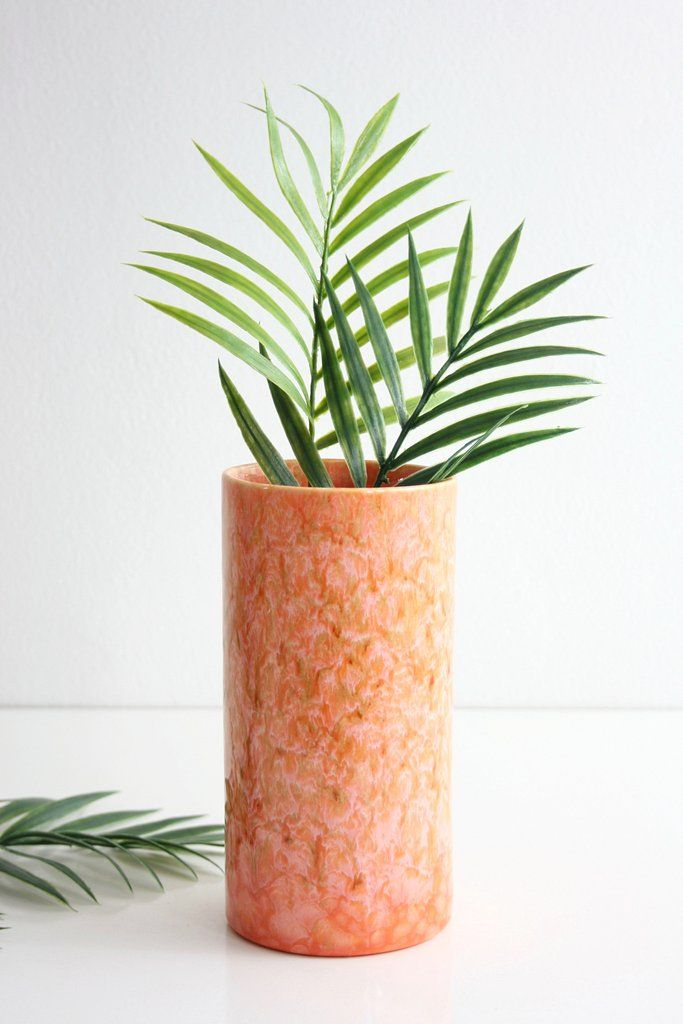 Mid Century Modern Royal Haeger Vase Vintage Peach Drip Glaze Vase