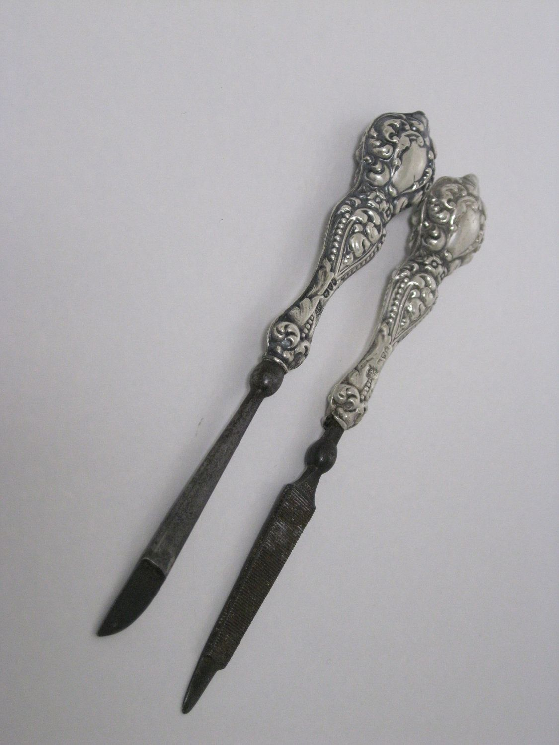 Sterling Silver Victorian Manicure Set Antique Grooming