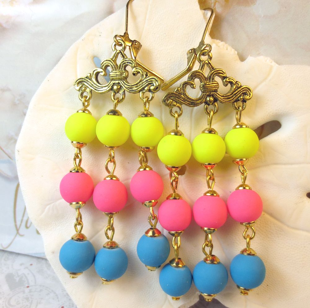 I just listed bright neon colors chandelier earrings on the i just listed bright neon colors chandelier earrings on the craftstar thecraftstar uniquegifts arubaitofo Images