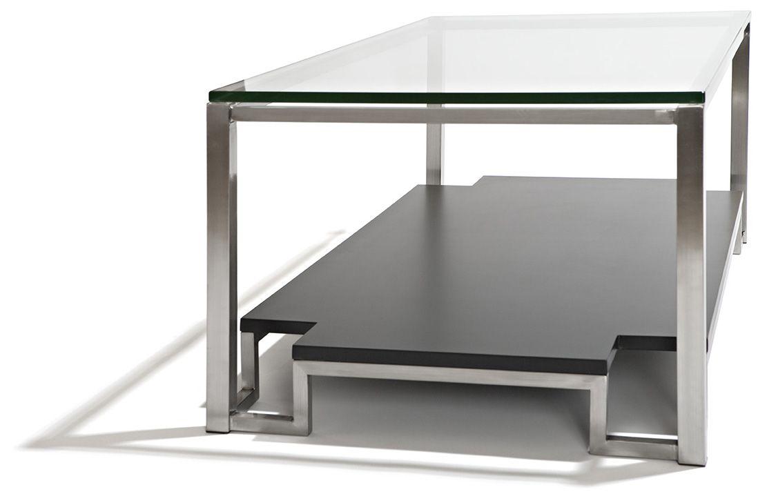 Los Angeles Soffbord i mattborstat stål med bordsskiva i glas och underrede i lackat MDF