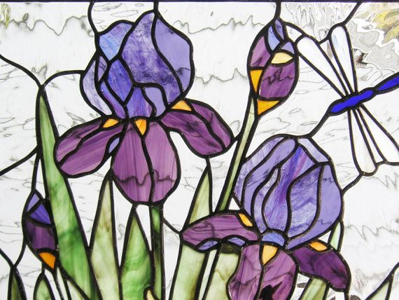 Stained Glass Window Panelpurple Iris With Dragonfly Etsy In