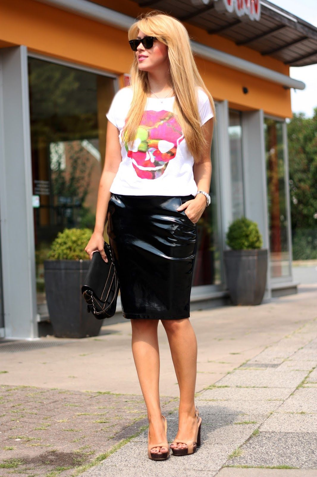 7 chic ways to style your patent skirts | leather skirts, patent