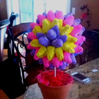 I did it. Made the Peep Topiary.  Fun craft. On to the cupcakes and deciles eggs that look like chicks. Happy Easter