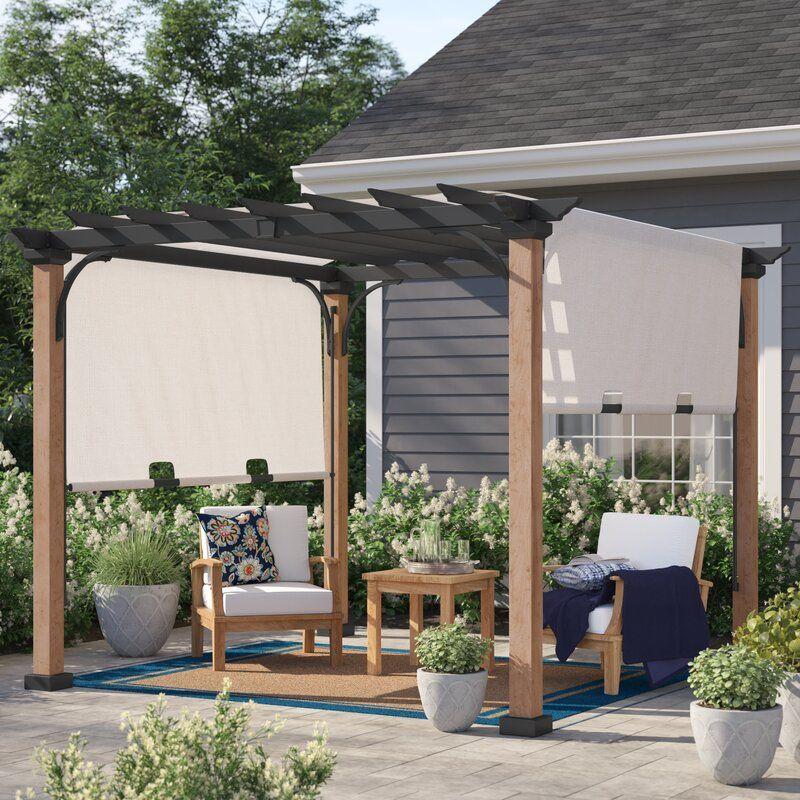 Raheem 10 W X 10 D Metal Pergola With Canopy In 2020 Metal Pergola Pergola Canopy Wood Pergola