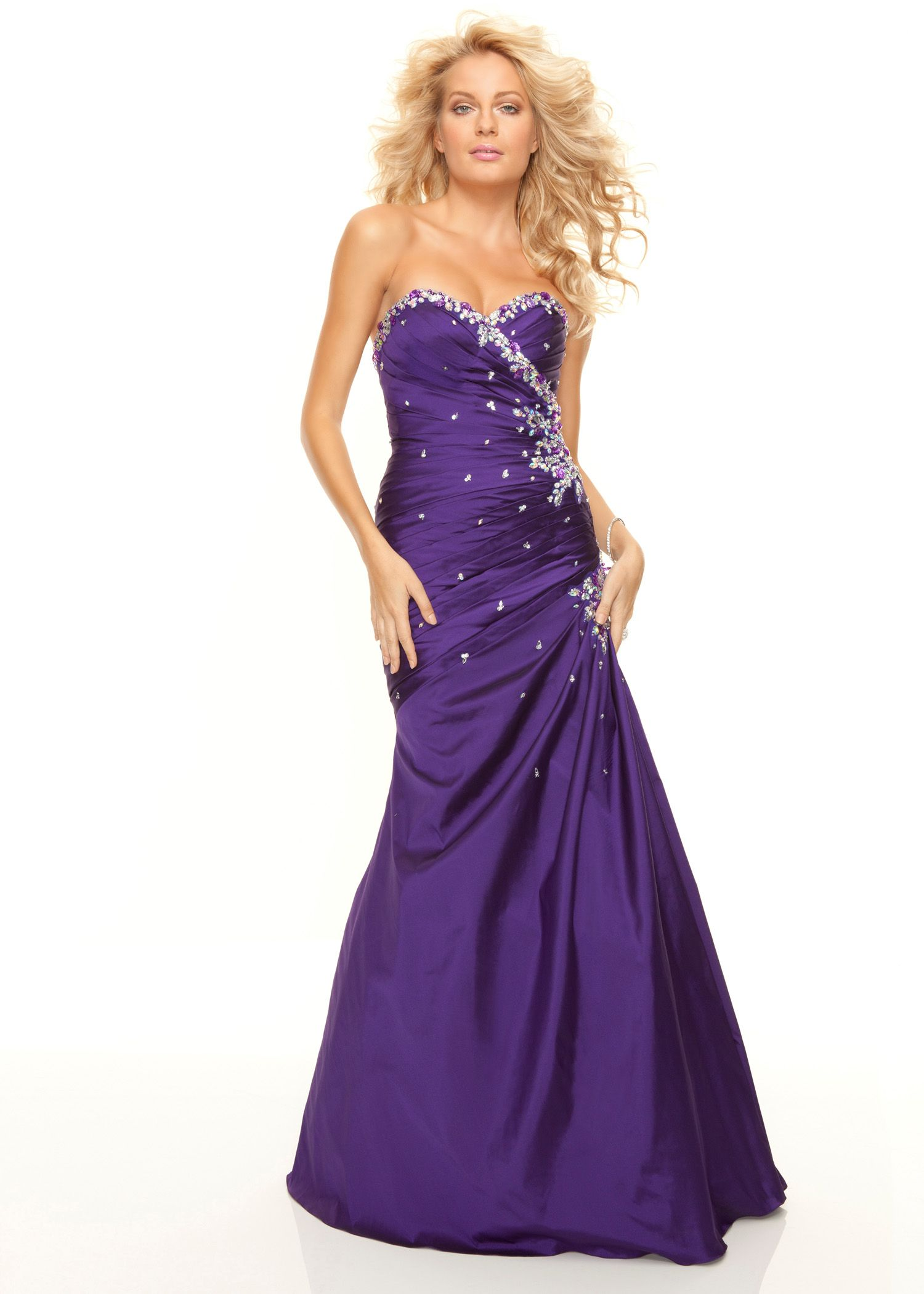 Paparazzi by Mori Lee 93081 strapless purple prom dress ...