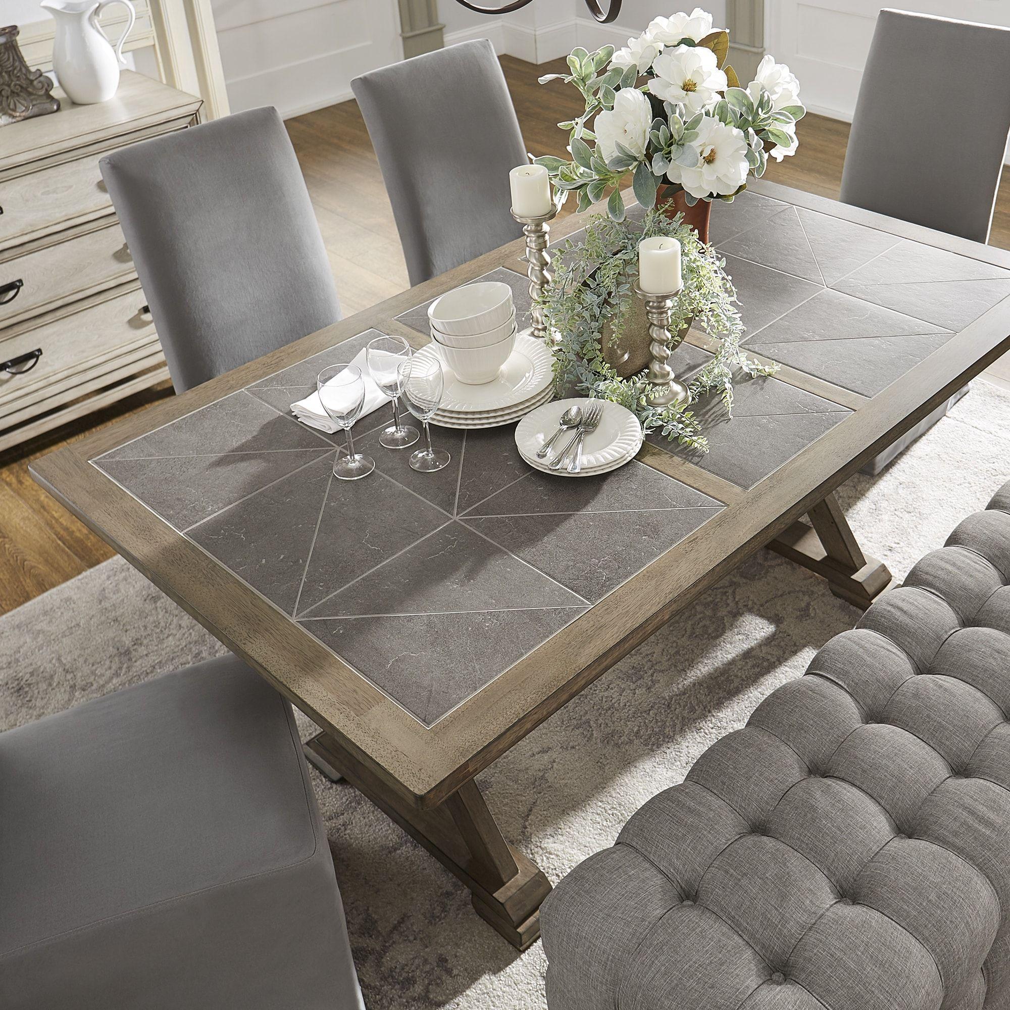 Pennington Grey Wood Rectangular Tile Top Trestle Dining Table By