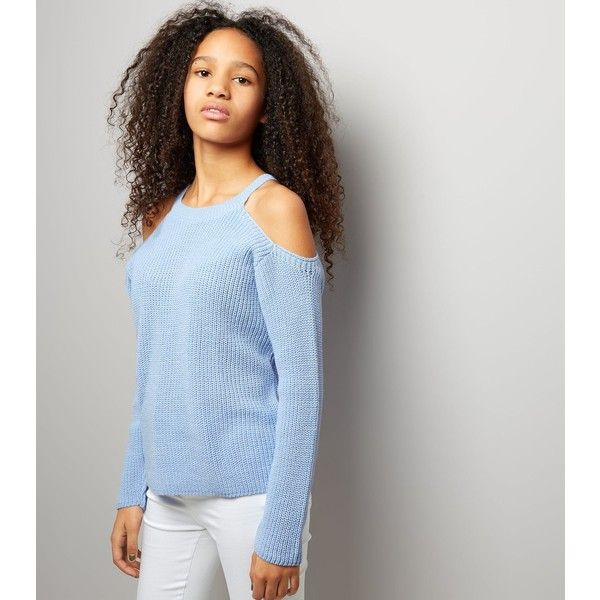 0f5bb09c3647a New Look Teens Pale Blue Ribbed Cold Shoulder Jumper (£18) ❤ liked ...