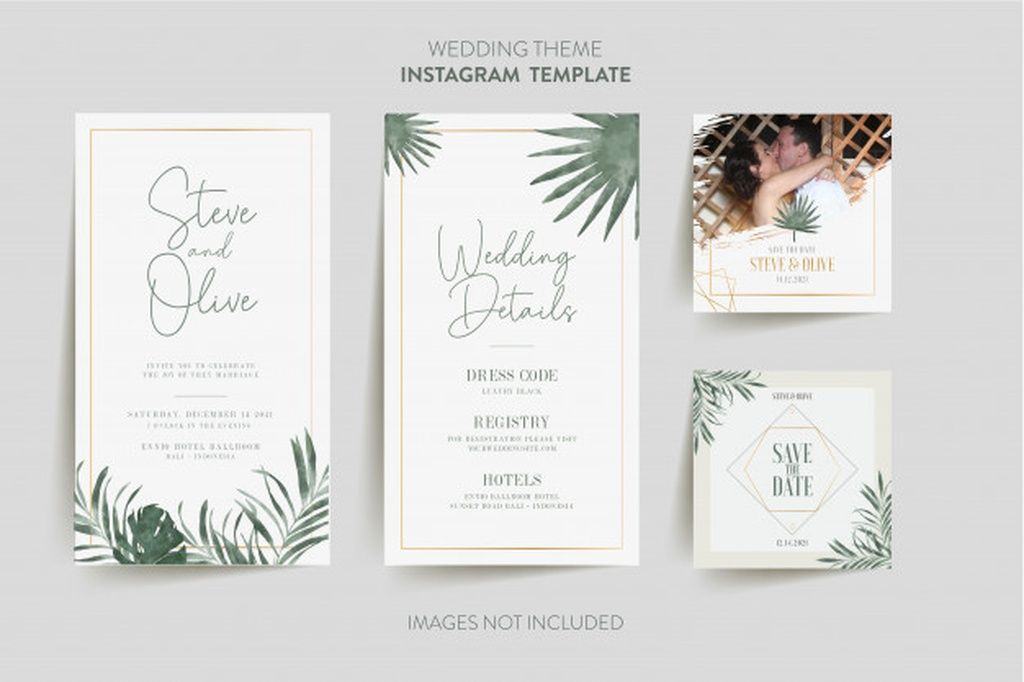 Instagram Template For Wedding Invitation Card With Tropical Flowe In 2020 Floral Wedding Invitation Card Watercolour Wedding Stationery Hand Drawn Wedding Invitations