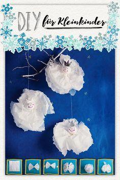 Schneeflocken basteln aus Taschentüchern.