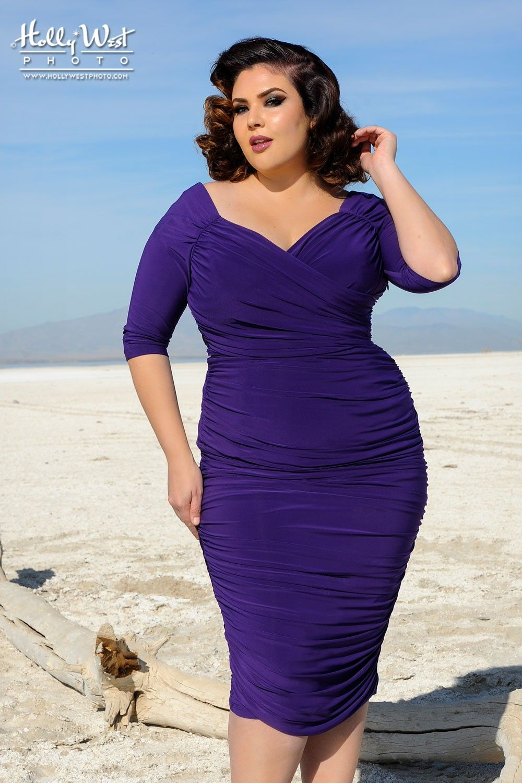 Laura Byrnes Monica Dress In Dark Purple Plus Size Pinup Girl