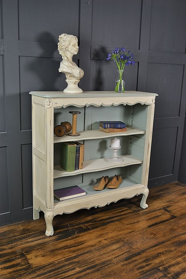 trim furniture french pink bookcases motif smallbookcaser linen small finish ribbons out bookcase hand products painted afk