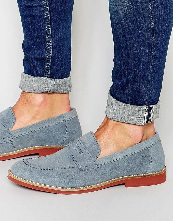 Asos Penny Loafers In Blue Suede Loafers Men Penny Loafers