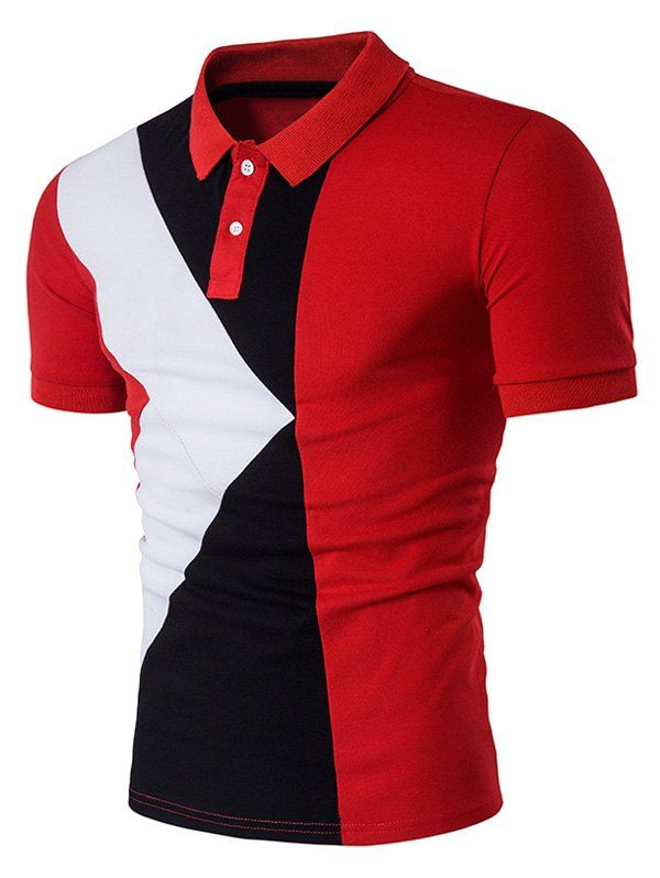 71b5e055f724 Turndown Collar Color Block Panel Design Polo T-Shirt In Red