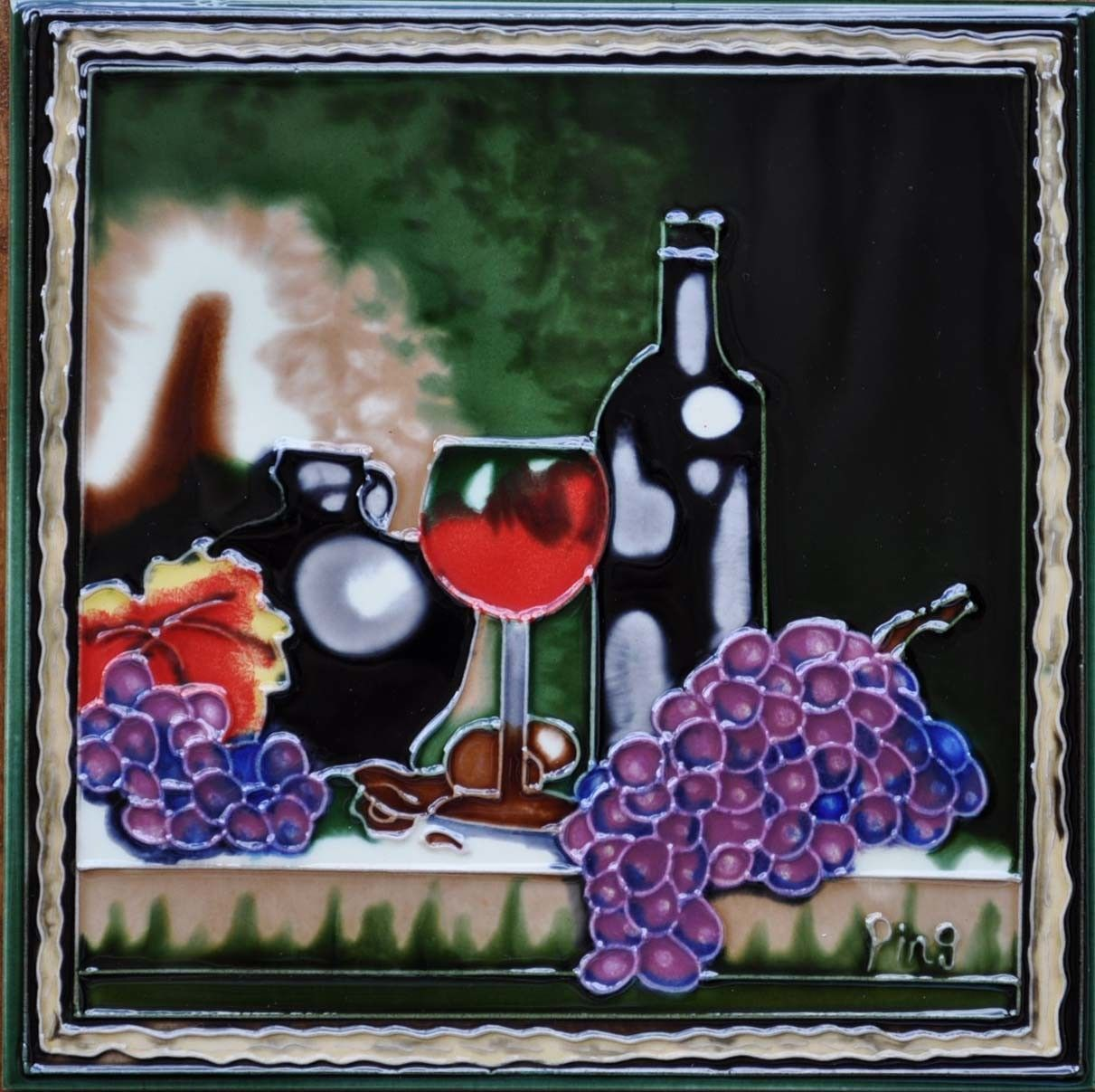 Wine framed tile wall decor graphic art and products