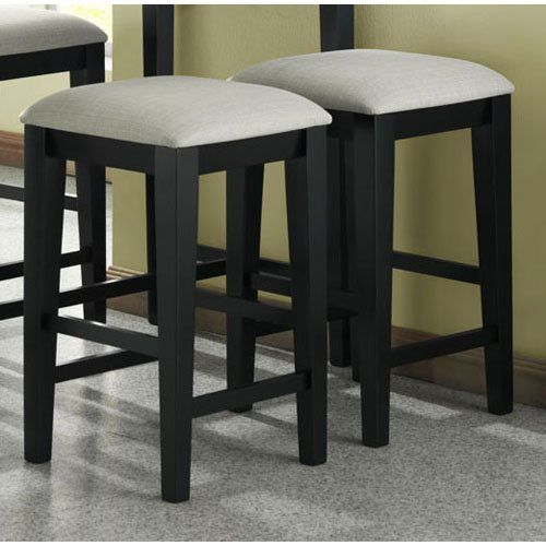 Monarch Specialties Grain High Barstools With A Grey Fabric Seat 24 Inch Black