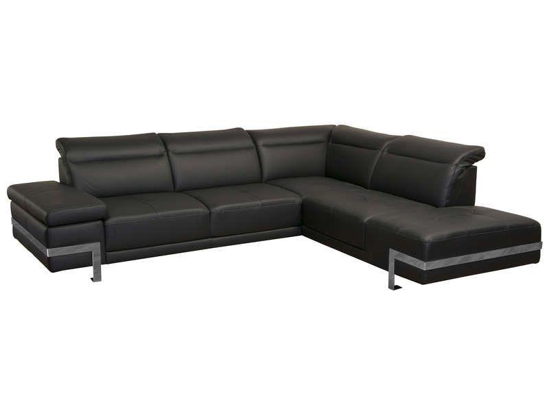 5c2c05afbe3 Canapé d angle droit fixe en cuir 3 places VERONE coloris noir prix promo Canapé  Conforama pas cher 1 499.40 € TTC au lieu de 1 762.50 €