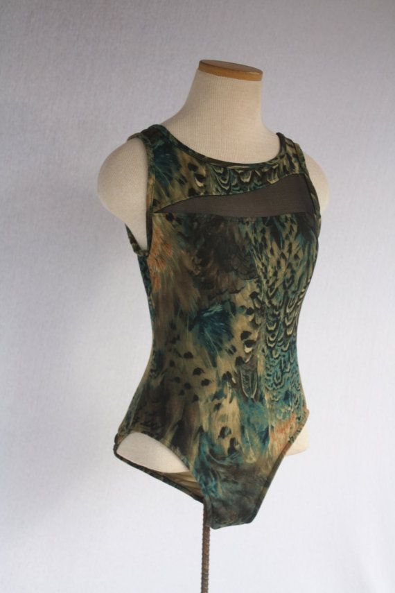 Peacock Feather & Animal Print Leopard One Piece Bathing Suit Leotard or Top with Abstract Mesh Cut out by TheThriftyBuddah, $20.00
