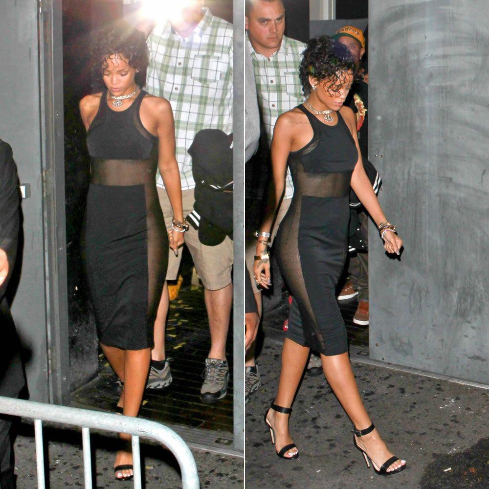 Black sandals rihanna - Rihanna In T By Alexander Wang Mesh Combo Midi Tank Dress And Rihanna For River Island