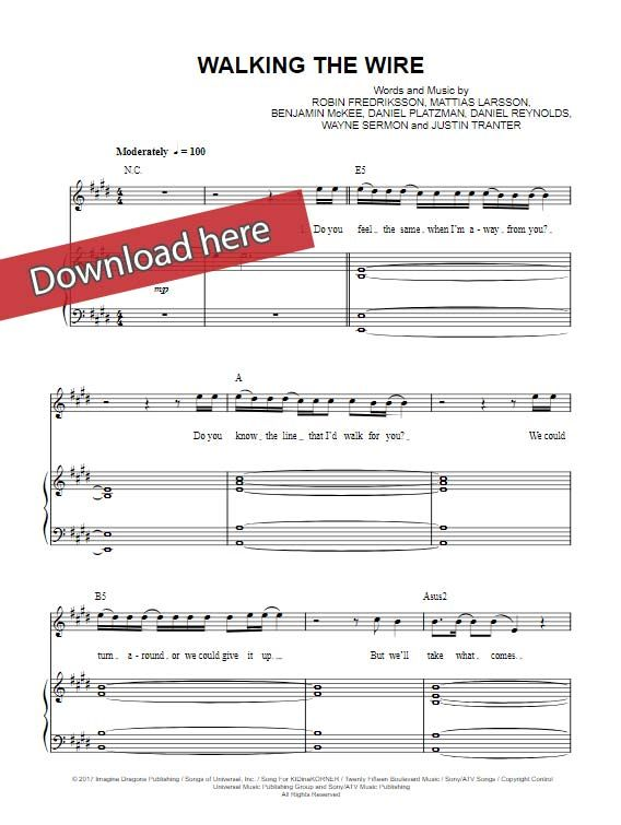 Imagine Dragons Walking The Wire Imagine Dragons Sheet Music