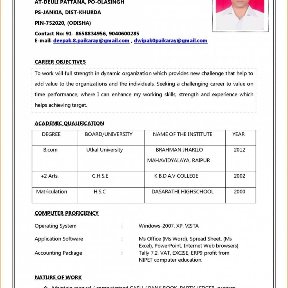 B Com Student Resume Format