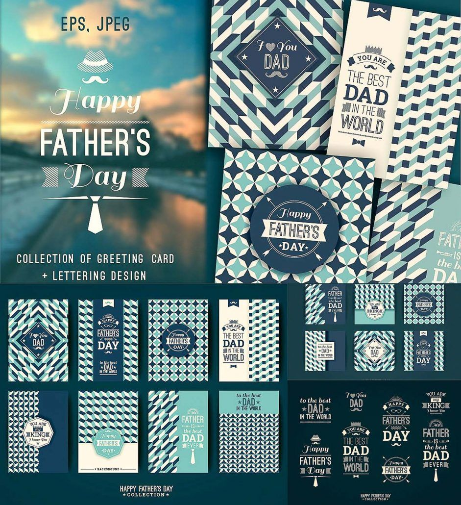 12 Greeting Cards For Fathers Day Lettering Design File Format