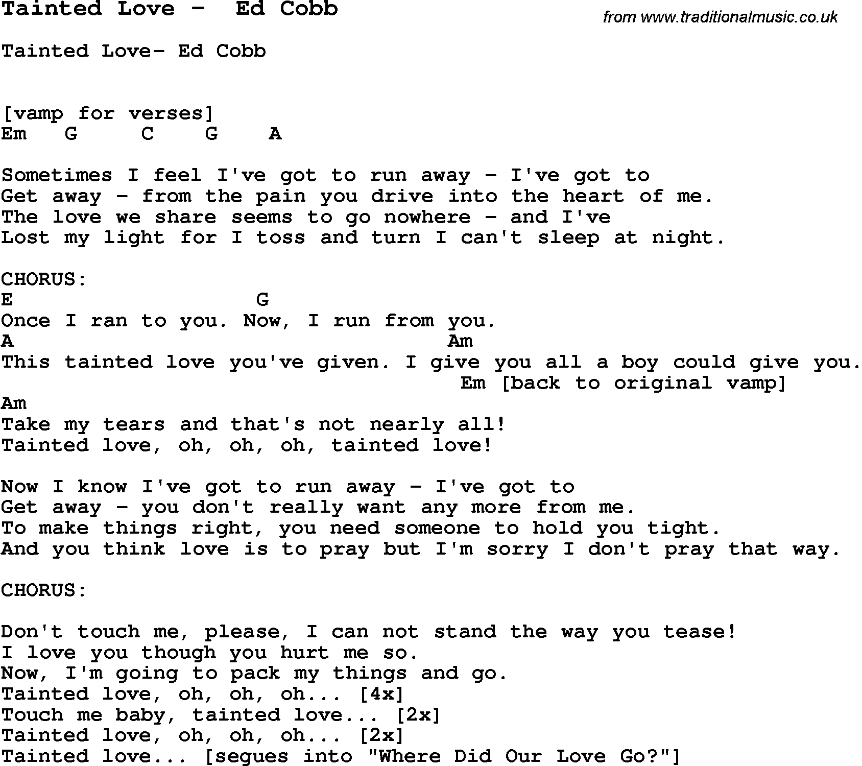 Tainted Love Guitar Chords