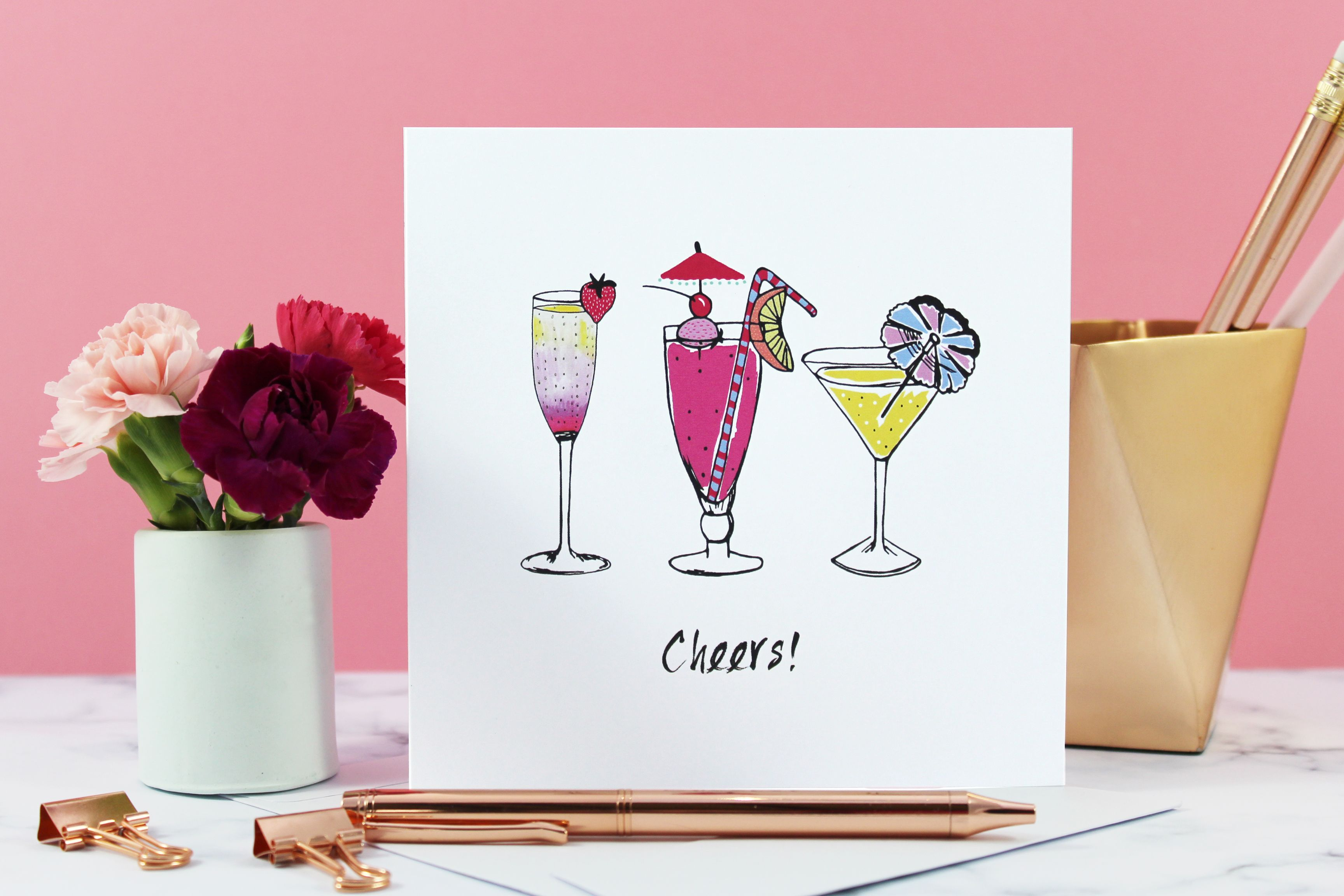 Fun And Vibrant Cocktail Cheers Greeting Card Perfect For A